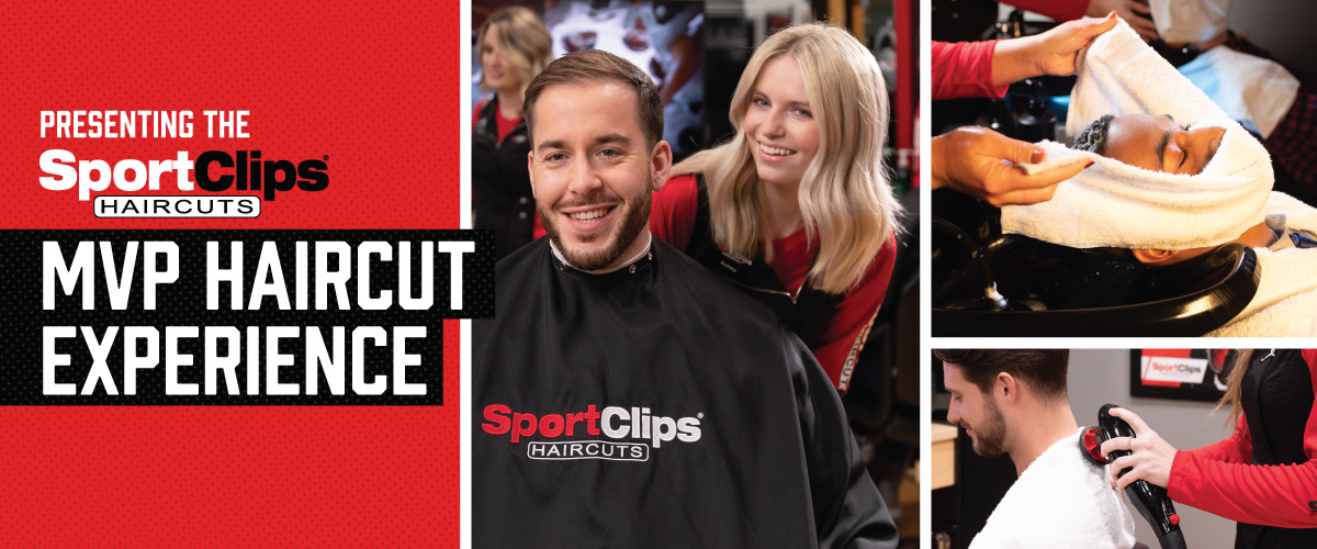 The Sport Clips Haircuts of Naperville I MVP Haircut Experience with stylist giving a client a haircut, a hot towel placed on his face, and using a massager on a clients upper back